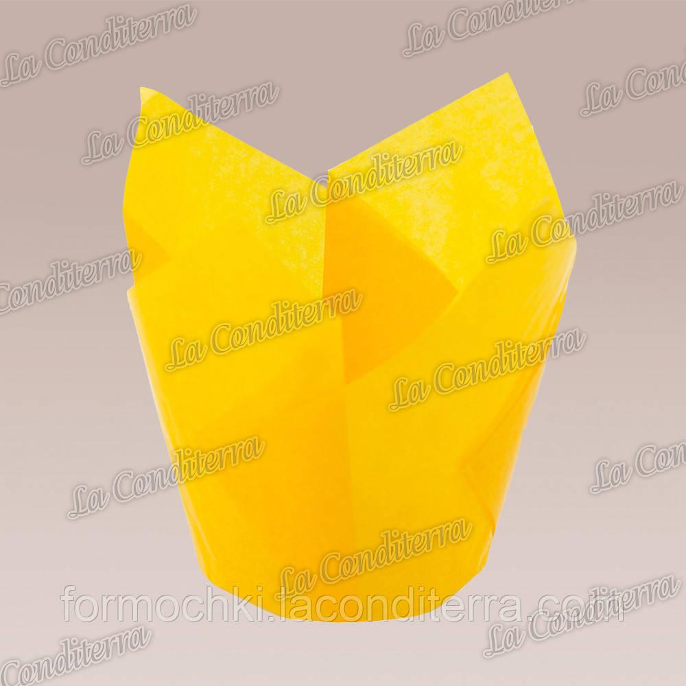 Формочки для кексов Тюльпан насыщенно-желтые (50 шт., d=50 мм, высота бортика=60/80 мм)