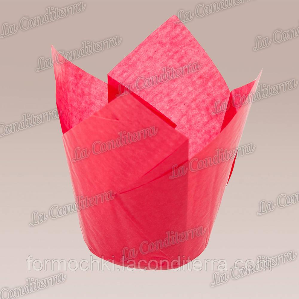 Формочки для кексов Тюльпан красные (50 шт., d=50 мм, высота бортика=60/80 мм)
