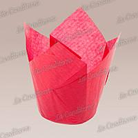 Формочки для кексов Тюльпан красные (50 шт., d=50 мм, высота бортика=60/80 мм), фото 1