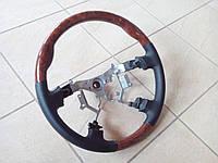 Руль с деревяными вставками Toyota Land Cruiser Prado 120 (черная кожа + темное дерево)