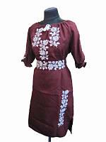 Платье бордовое Белые розы (Платья с вышивкой в украинском стиле)