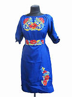 Платье синее Веночек (Платья с вышивкой в украинском стиле)