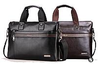 Мужская кожаная сумка портфель Polo Videng A4 2 цвета
