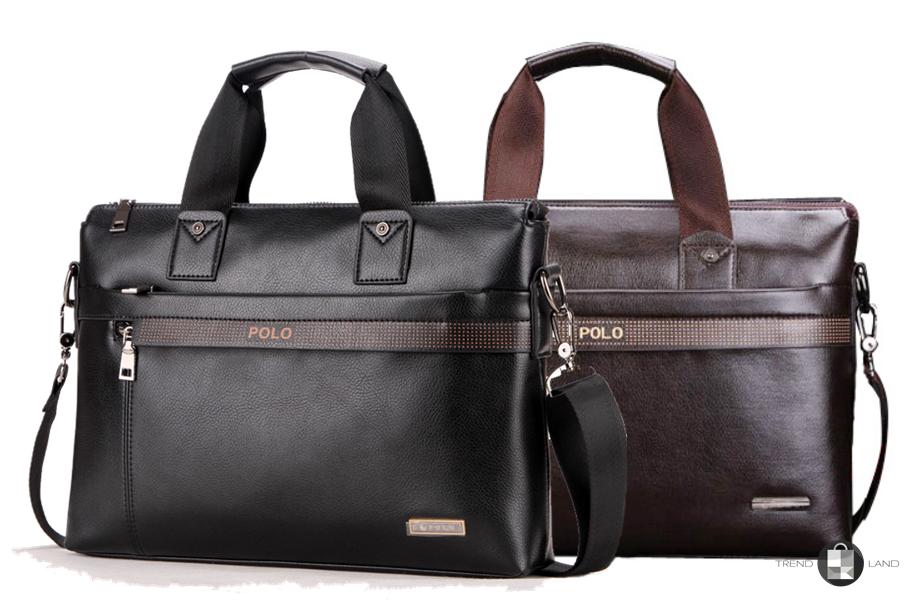 e13489807208 Мужская кожаная сумка портфель Polo Videng A4 2 цвета - Интернет-магазин