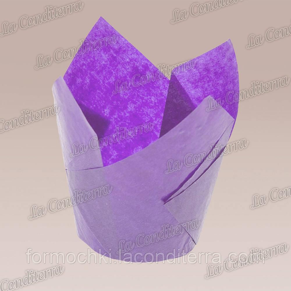 Формочки для кексов Тюльпан пурпурные (50 шт., d=50 мм, высота бортика=60/80 мм)