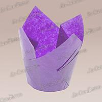 Формочки для кексов Тюльпан пурпурные (50 шт., d=50 мм, высота бортика=60/80 мм), фото 1