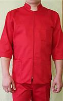 Красный медицинский костюм мужской на молнии