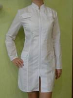 Халат медицинский белый женский на молнии
