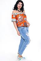 """Блузка модной расцветки """"Фридом"""", монетка оранж"""