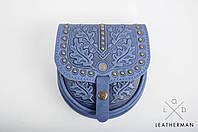 Кожаная женская сумка, сумка через плечо, мини сумочка, синяя сумка с металом