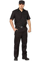 Костюм охранника летний черного цвета рубашка с коротким рукавом брюки кепка