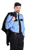 Рубашка охранника с длинным рукавом голубая с черными вставками