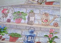 Обои на стену, полки, вазоны, цветы, голубой, бумажные влагостойкие, Полочки 8079-03, 0,53*10м