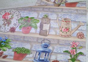Обои на стену, полки, вазоны, цветы, голубой, бумажные влагостойкие, Полочки 8079-03, 0,53*10м, фото 2