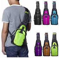 Мужской рюкзак на одно плече. Размер 35-16-5 см.Салатовый