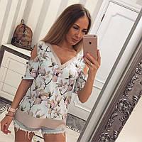 Женская модная блуза с цветами (2 цвета), фото 1