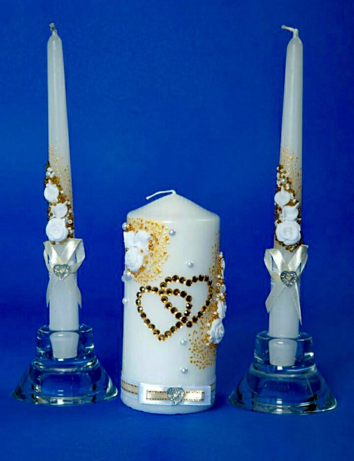 """Набор свадебных свечей """"Семейный очаг"""" золотое сердце"""