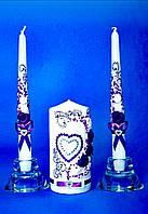 """Набор свадебных свечей  """"Семейный очаг"""" фиолетовое сердце"""