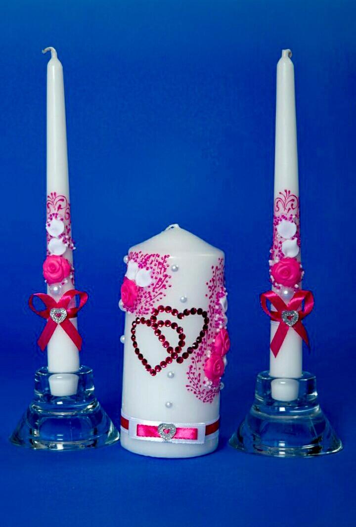 """Набор свадебных свечей """"Семейный очаг"""" влюбленные сердца"""
