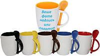 Печать на чашке керамической, цветная внутри, ручка и ложка