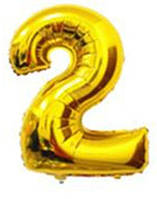 Шар цифра 2 с гелием золотая 60 см