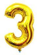 Куля цифра 3 з гелієм золота 60 см