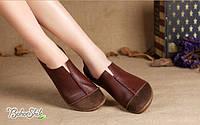 Кожаные туфли мокасины на сплошной подошве цвет коричневый