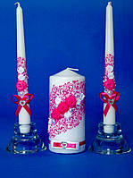 """Набор свадебных свечей """"Семейный очаг розочки"""""""