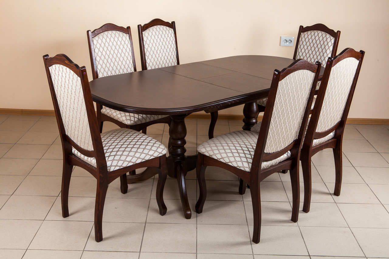 Стол овальный раскладной Вавилон Микс мебель, цвет темный орех / орех итальянский