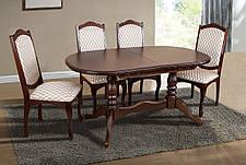 Стол овальный раскладной Вавилон Микс мебель, цвет темный орех / орех итальянский, фото 3