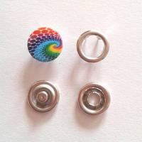 Кнопка трикотажная 9,5 мм закрытая шляпка эмаль с рисунком № 4