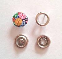 Кнопка трикотажная 9,5 мм закрытая шляпка эмаль с рисунком № 5