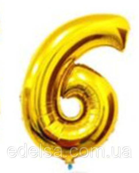 Шар цифра 6 с гелием золотая 60 см