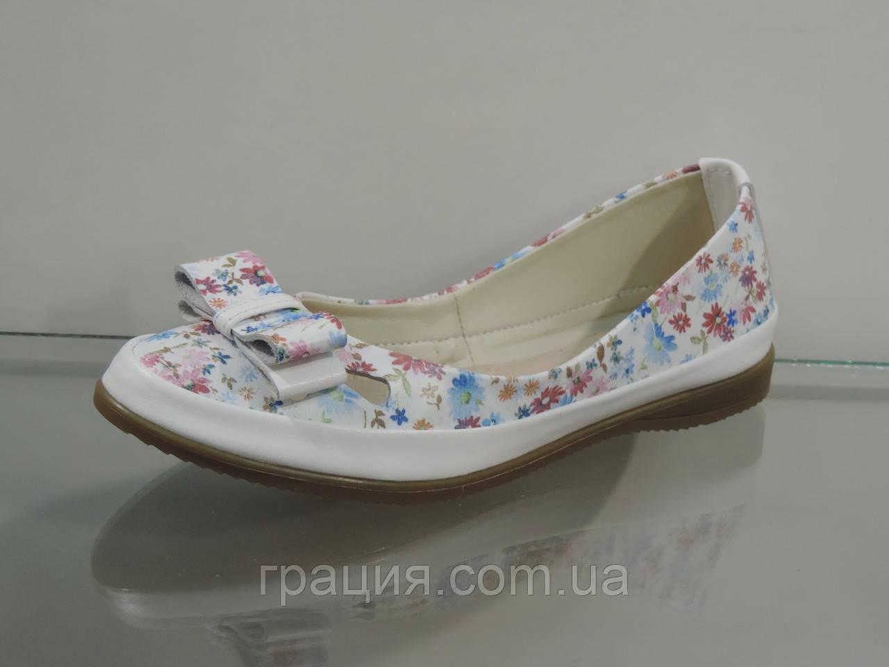 Туфли женские кожаные мягкие в цветочек