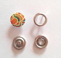 Кнопка трикотажная 9,5 мм закрытая шляпка эмаль с рисунком № 6