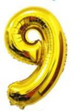 Куля цифра 9 з гелієм золота 60 см
