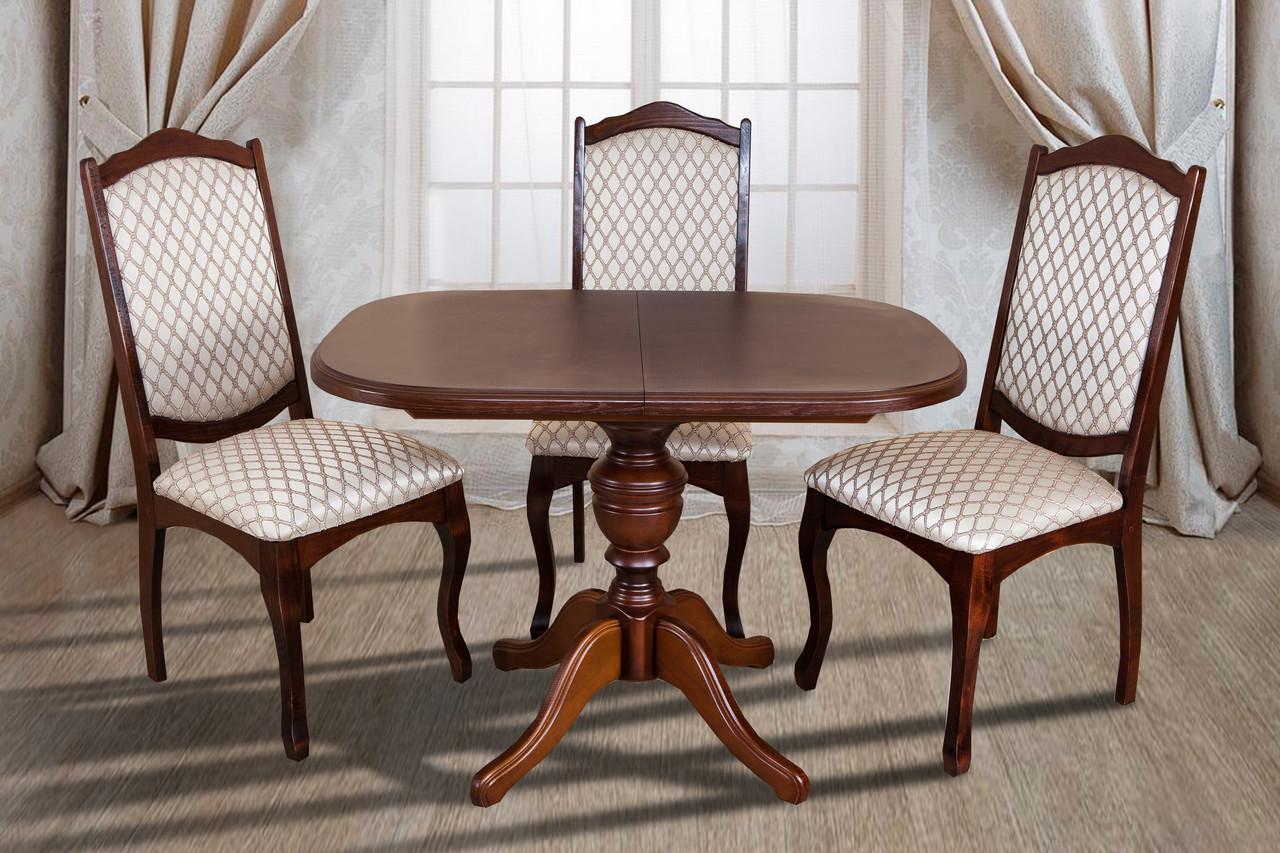 Стол обеденный раскладной прямоугольный на одной ножке  Триумф Микс мебель, цвет орех / темный орех / венге