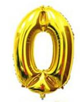 Шар цифра 0 с гелием золотая 60 см