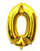 Куля цифра 0 з гелієм золота 60 см