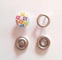 Кнопка трикотажная 9,5 мм закрытая шляпка эмаль с рисунком № 10