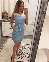 Женское модное джинсовое платье со вставками хлопка (2 цвета), фото 1
