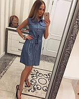 Женское модное джинсовое платье с поясом (3 цвета), фото 1