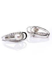 Сережки срібні з перлинами Е-476