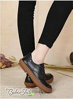 Кожаные черные туфли-мокасины на шнурке