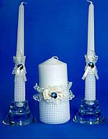 """Набор свадебных свечей """"Семейный очаг""""  бантик айвери"""