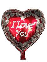 """Шарик фольгированный сердце """"I love you"""", диаметр 43*48 см"""