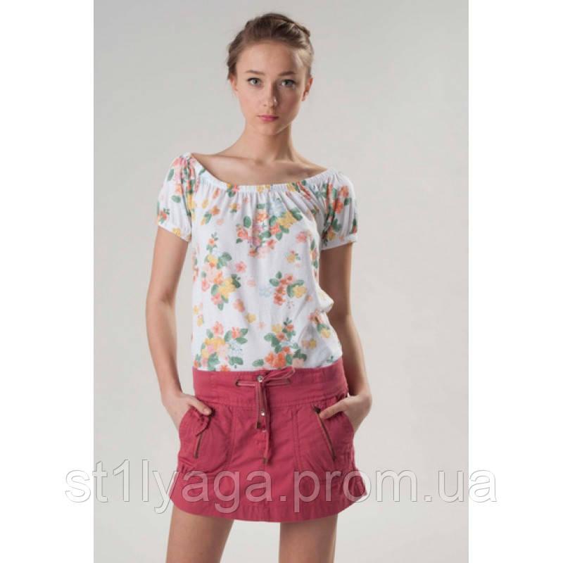 Короткая розовая юбка из хлопка ЛЕТО