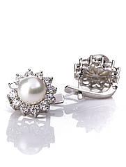 Сережки срібні з перлинами Е-343
