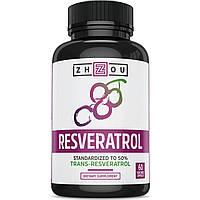 Ресвератрол, Zhou Nutrition, 500 мг, 60 капсул. Сделано в США., фото 1
