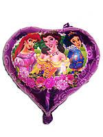Шарик фольгированный сердце Принцессы, диаметр 45 см